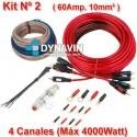 KIT CABLEADO AMPLIFICADOR 10mm². CUATRO CANALES. 60 AMPERIOS.