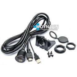 PROLONGADOR USB-HDMI (200cm), CON TOMA DE FIJACION PARA INSTALACIÓN EN SUPERFICIE