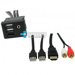PROLONGADOR USB-HDMI-AUX (100cm), CON TOMA DE FIJACION PARA EMPOTRAR