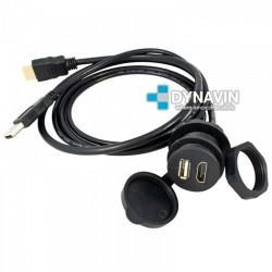 PROLONGADOR USB-HDMI (250cm), CON TOMA DE FIJACION PARA EMPOTRAR