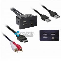PROLONGADOR USB-HDMI-AUX, CON TOMA DE FIJACION PARA EMPOTRAR