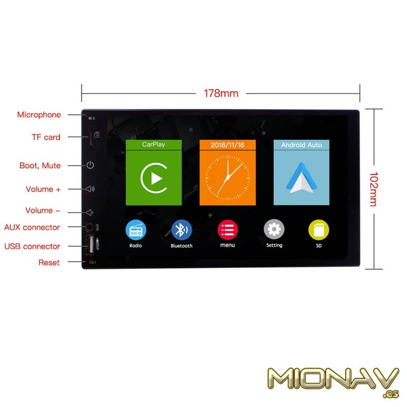 Autorradio 2DIN con CarPlay y Android Auto  Pantalla 6 8