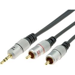 JACK TIPO 25 - CABLE CONVERSOR ADAPTADOR DE JACK 3,5MM MACHO A 2 RCA MACHO HIGH QUALITY