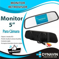 """MONITOR RETROVISOR 5"""" EN ESPEJO AV IN + CAM IN"""