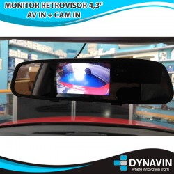 "MONITOR RETROVISOR 4,3"": AV IN + CAM IN"
