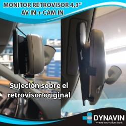"""PACK RETROVISOR 4,3"""" + CAMARA TRASERA DVN-1016 CAM"""