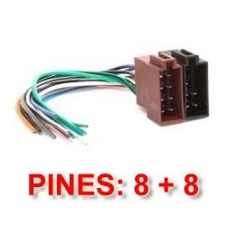 CONECTOR ISO UNIVERSAL HEMBRA. ALIMENTACION 8PIN, ALTAVOCES 8PIN