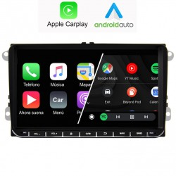 Pantalla Android 2din gps Octacore 4/64GB. Cámara trasera CarPlay Android Auto VW RCD510, RCD310, RNS815, seat leon