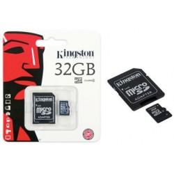 32GB. MicroSD CON ADAPTADOR PARA SD. TARJETA DE MEMORIA MARCA KINGSTON