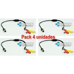 PACK x4 - ADAPTADOR, CONVERSOR 4PIN PRO A RCA