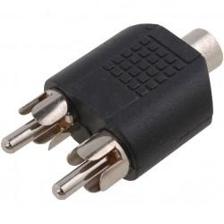"""CONECTOR RCA. ADAPTADOR """"T"""" / TIPO """"Y"""": 1 x MACHO / 2 HEMBRAS"""