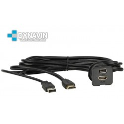 PROLONGADOR USB-HDMI (150cm), CON TOMA DE FIJACION PARA EMPOTRAR
