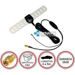 LIBELULA. CONECTOR SMA. ANTENA DE TDT TV DIGITAL AMPLIFICADA 12V PARA COCHE