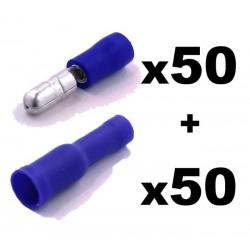 Kit Terminal Redondo + Hembra. Ø:4mm. Cables de 1,5 a 2,5mm2. Crimpado: Bolsa 50 + 50 unidades