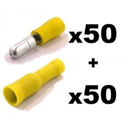 Kit Terminal Redondo + Hembra. Ø:5mm. Cables de 4,0 a 6,0mm2. Crimpado: Bolsa 50 + 50 unidades