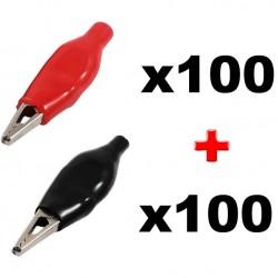 Juego de 200 pinzas de cocodrilo aisladas: 100 rojas + 100 negras